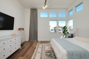 Master Bedroom with upgraded wood floors